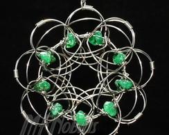 Colar Mandala Cristal Verde A�o Inox