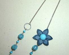 Colar Flor de Jeans azul claro