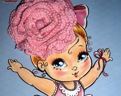 El�stico para cabelo com flor em crochet