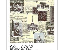 BOLSA PARIS P&B - TECIDO IMPORTADO