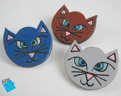 Broches ou fivelas gato em biscuit