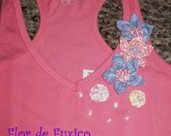 camiseta rosa com fuxicos VENDIDA