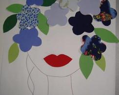 Aplique Cabe�a de Flores azuis