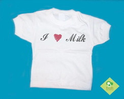 T-Shirt Beb� e Infantil I LOVE MILK