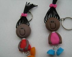Chaveiro Boneca Pretinha-cabelo de pano