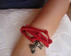 pulseira em couro vermelha