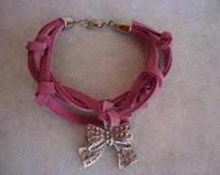 pulseira em couro pink