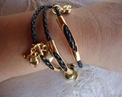 pulseira em couro preto