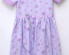 Vestido infantil floral lil�s - 4 anos