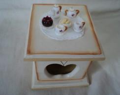 Caixa para ch�-miniaturas em biscuit