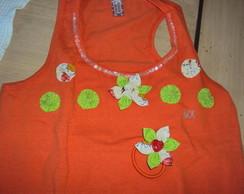 Regata com flores e gola bordada-Laranja