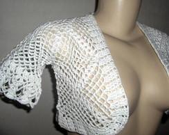 Bolero Branco em crochet com linha fina