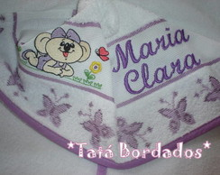 Toalha de Capuz Branco/Lil�s Lilica