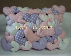 Almofada Cora��es Puff Rosa/ Lil�s