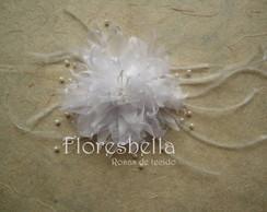 Flor CRIS�NTEMO Organza Cristal BRANCA