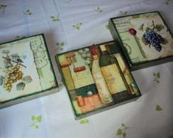 Conjunto de mini telas-Vinhos