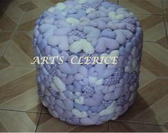 Capa p/ puff cora��es lil�s