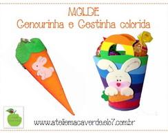 MOLDE CENOURA E CESTINHA DE P�SCOA COLOR