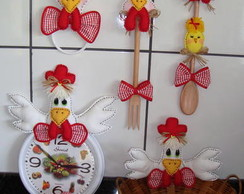 Kit de galinhas p/ decorar cozinha (01)