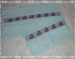 Kit toalha para meninos barquinhos