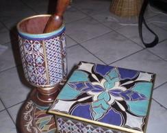 Caixa de ch� e pilao decorativo