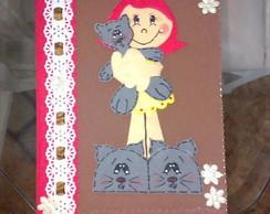 Caderno menina pantufa gatinho - Marrom