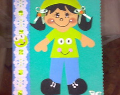 Caderno menina Pucca verde