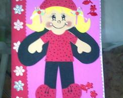 Caderno menina Joaninha rosa