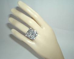 Anel de Cristal Prata com Preto
