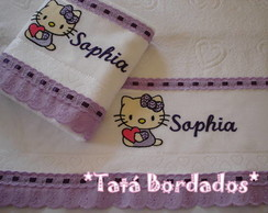 Jogo de Toalhas Hello Kitty-Branco/Lil�s