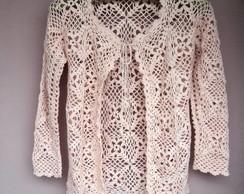 Casaco de croch� rosa envelhecido