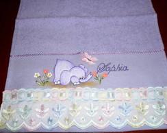 Toalha de m�o infantil elefantinho lil�s