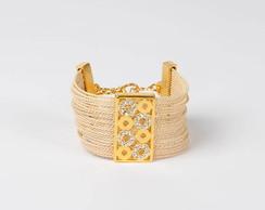 Bracelete brilho, palha e metal
