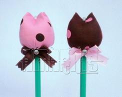L�pis Tulipa - Marrom e Rosa