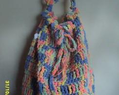 Bolsa de croch� em barbante colorido