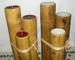 trio de velas em bambu