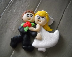 Lembran�a de Casamento- �m� em biscuit