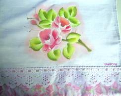 Pano de copa/prato Rosas pintado � m�o