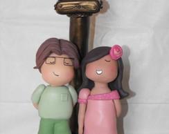Topo de bolo casal estilo infantil