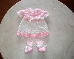 Vestido e sapatinho trico p/ mini reborn