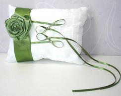 Porta Alian�as Branco com Rosa Verde