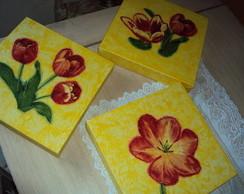 Trio quadros tulipas