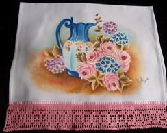 Pano de copa pintado � m�o Jarro e rosas