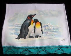 Pano de copa pintado a m�o pinguins