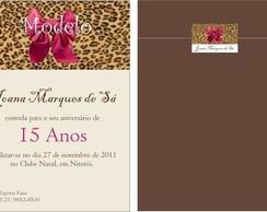 Convite 15 anos oncinha rosa