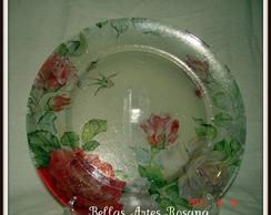 Prato com decoupagem rosas Vendido