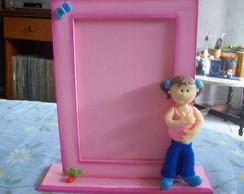 Porta retrato em biscuit -Menina