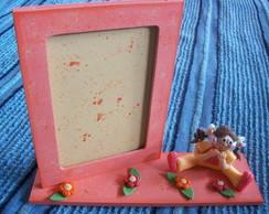 Porta retrato Laranja -Menina em biscuit