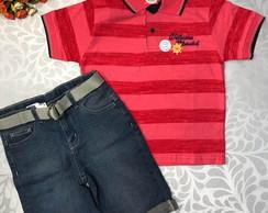 ... Conjunto Masculino bermuda Jeans Polo Listrada ad13e3ae24d7b