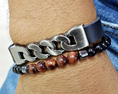 ba89496ac4 ... Kit 2 pulseiras masculinas couro fecho magnetico pedras onix